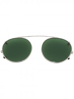 Солнцезащитные очки Spiel в круглой оправе Moscot. Цвет: серебристый