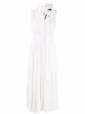 Платье миди без рукавов с пайетками Elie Saab. Цвет: белый