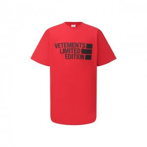 Хлопковая футболка VETEMENTS. Цвет: красный
