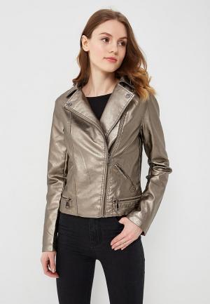 Куртка кожаная B.Style BS002EWARTC3. Цвет: коричневый