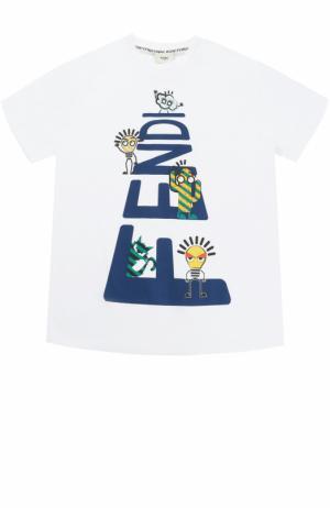 Хлопковая футболка с принтом Fendi. Цвет: белый