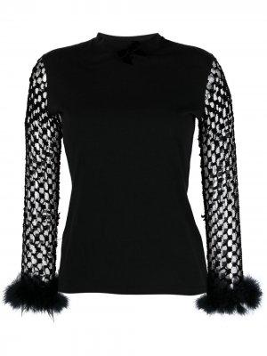 Топ 1990-х годов с плетеными рукавами Jean Paul Gaultier Pre-Owned. Цвет: черный