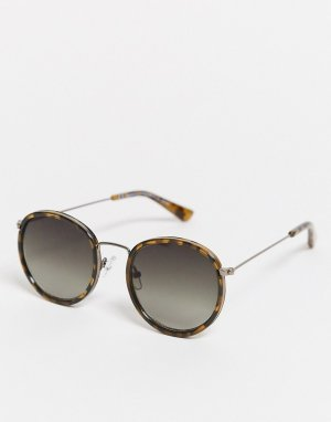 Черепаховые круглые солнцезащитные очки -Коричневый Weekday