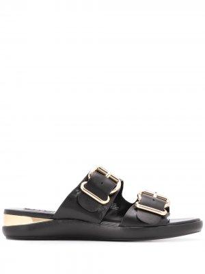 Сандалии с пряжками DKNY. Цвет: черный