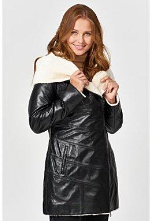 Утепленная кожаная куртка с подкладкой из овчины La Reine Blanche