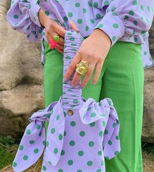 Большая сумка-тоут в контрастный горошек х Olivia & Alice-Фиолетовый цвет Labelrail