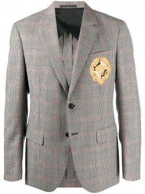 Клетчатый пиджак с вышивкой Medusa Crest Versace. Цвет: черный