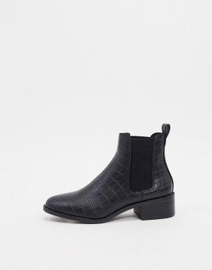 Черные ботинки челси с крокодиловым рисунком -Черный New Look