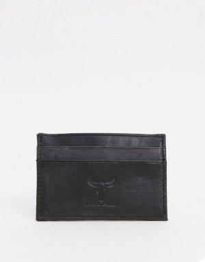 Кожаный кошелек для пластиковых карт -Черный цвет Hyde & Tanner