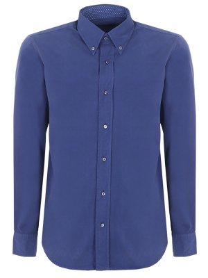 Рубашка хлопковая Baldessarini. Цвет: синий