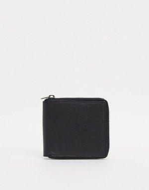 Кожаный бумажник с круговой молнией -Черный цвет Urbancode