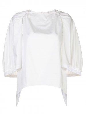 Поплиновая рубашка с объемными рукавами Tibi. Цвет: белый