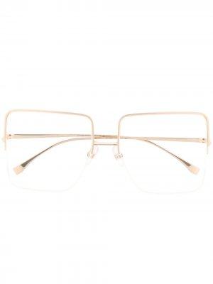Очки в квадратной полуободковой оправе Fendi Eyewear. Цвет: золотистый