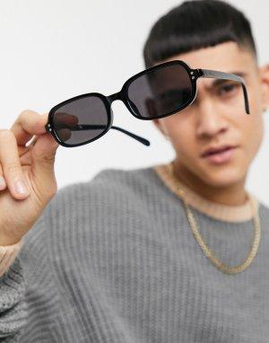 Солнцезащитные очки с черной квадратной оправой из переработанных материалов и черными линзами равномерной тонировкой -Черный цвет ASOS DESIGN