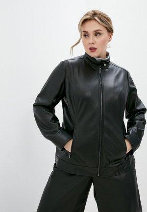 Куртка кожаная Persona by Marina Rinaldi CARINI. Цвет: черный