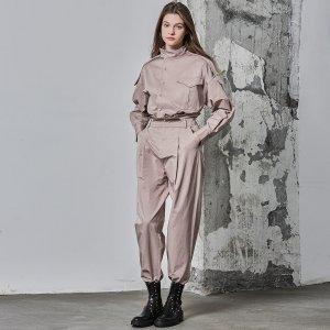 Хлопковые брюки-галифе с присборенной талией SHEIN. Цвет: пыльный фиолетовый