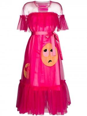 Платье миди из тюля Viktor & Rolf. Цвет: розовый
