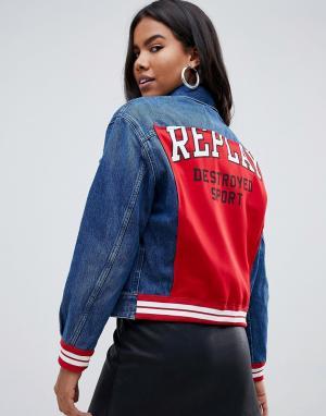 Джинсовая куртка со вставкой и надписью на спине Destroyed Sport -Черный Replay