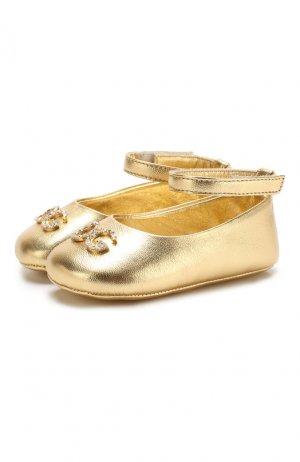 Кожаные пинетки с застежкой велькро Dolce & Gabbana. Цвет: золотой