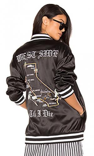 Куртка-бомбер с вышивкой cali KENDALL + KYLIE. Цвет: черный