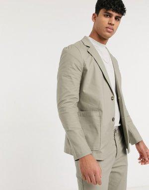 Пиджак облегающего кроя с квадратными карманами из хлопковой ткани цвета хаки от костюма -Зеленый ASOS DESIGN