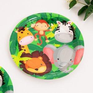 10шт 7-дюймовый с мультипликационным узором Одноразовая тарелка SHEIN. Цвет: многоцветный