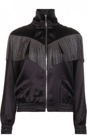 Бомбер на молнии с кожаной бахромой Saint Laurent. Цвет: черный