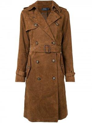 Двубортный тренч Polo Ralph Lauren. Цвет: коричневый