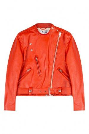 Красная кожаная куртка Acne Studios. Цвет: красный