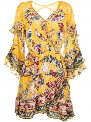 Платье-трапеция с оборками и цветочным принтом Camilla. Цвет: желтый
