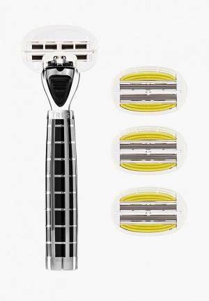 Станок для бритья Shave Lab TRES Black- P.L.6+ (черный/серебро,комплект 6+(с увлажняющей подушечкой) лезвий х 4шт).. Цвет: черный