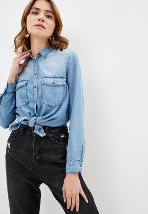 Рубашка джинсовая Top Secret. Цвет: голубой