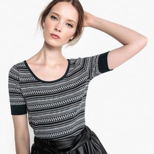 Пуловер с короткими рукавами и жаккардовым рисунком LA REDOUTE COLLECTIONS. Цвет: черный