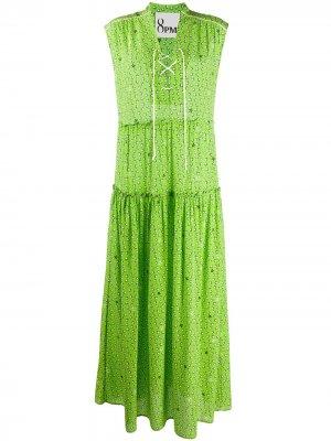 Платье макси с принтом 8pm. Цвет: зеленый