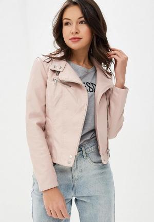 Куртка кожаная Izabella. Цвет: розовый