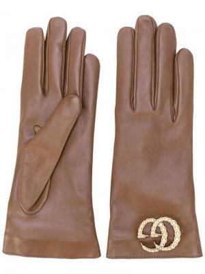 Перчатки с логотипом GG Gucci. Цвет: коричневый