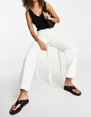 Прямые джинсы цвета экрю с завышенной талией -Голубой Dr Denim