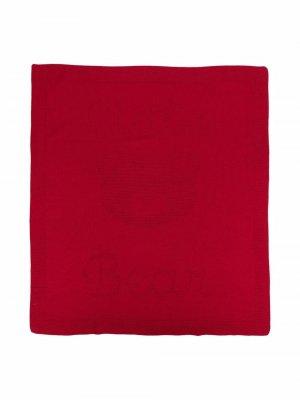 Шерстяное одеяло вязки интарсия с логотипом Little Bear. Цвет: красный