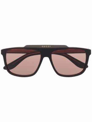 Солнцезащитные очки-авиаторы Gucci Eyewear. Цвет: красный