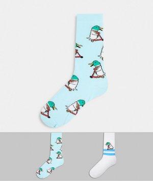Набор из 2 пар носков до щиколотки с принтом уток на самокате -Белый ASOS DESIGN