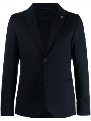 Однобортный пиджак с заостренными лацканами Daniele Alessandrini. Цвет: синий