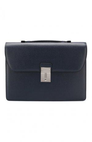 Кожаный портфель Canali. Цвет: синий