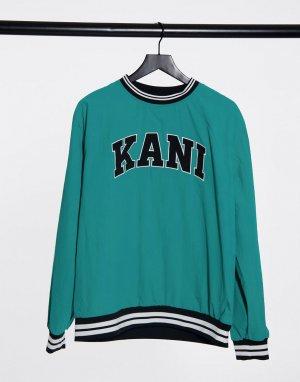 Свитшот бирюзового цвета Serif-Синий Karl Kani