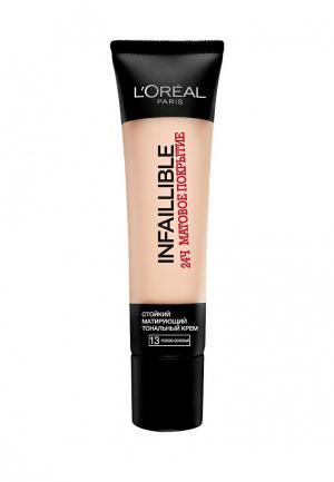 Тональный крем LOreal Paris L'Oreal Infaillible 24часа матовое покрытие, тон №13 Розово-бежевый, 35 мл. Цвет: бежевый