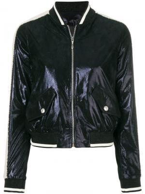 Куртка-бомбер с металлическим отблеском Just Cavalli. Цвет: синий