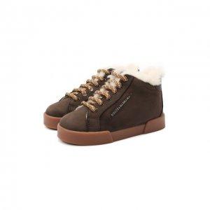 Замшевые кеды с меховой отделкой Dolce & Gabbana. Цвет: коричневый