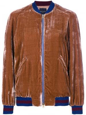 Двухцветная куртка-бомбер Roberto Collina. Цвет: коричневый