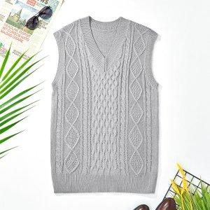 Мужской вязаный свитер с v-образным вырезом, жилет SHEIN. Цвет: светло-серый