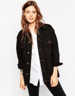 Черная джинсовая куртка‑герлфренд с контрастными строчками ASOS. Цвет: черный