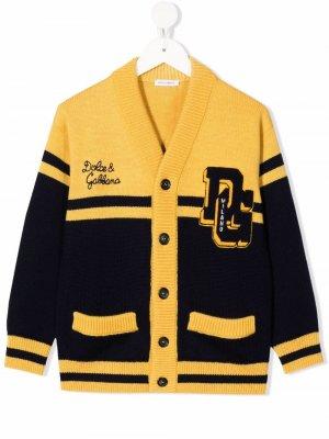 Кардиган с нашивкой-логотипом Dolce & Gabbana Kids. Цвет: желтый